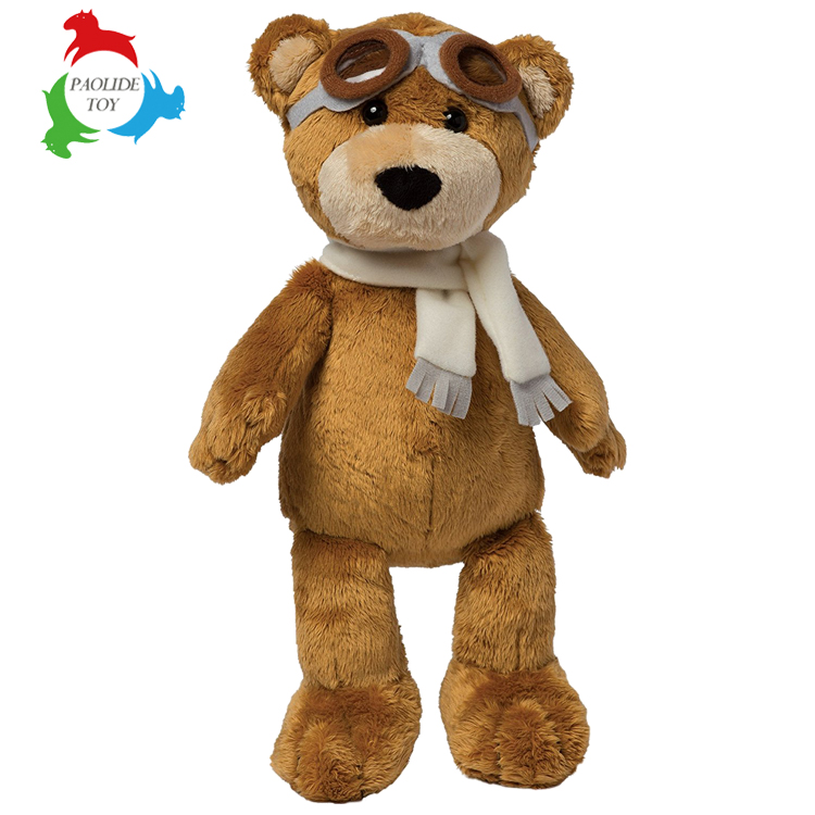 Professional china manufacturer custom animal long scraf teddy bear plush toys