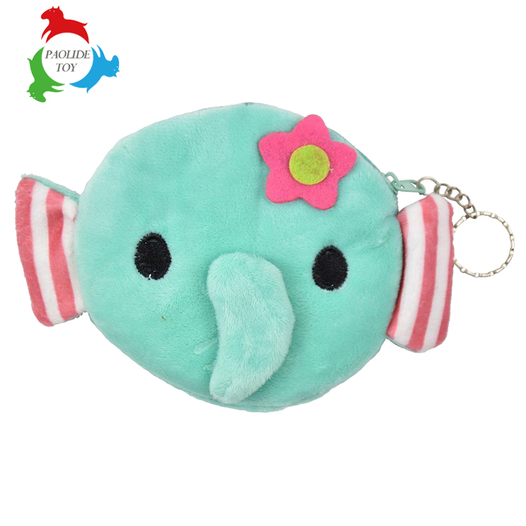 Semi-circular cartoon plush toys thickened keys package coin purse