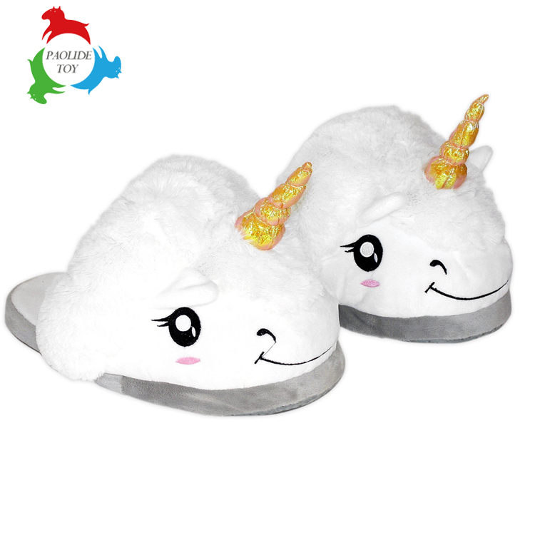 Fantasy plush unicorn soft plush slippers for adult festival christmas gift